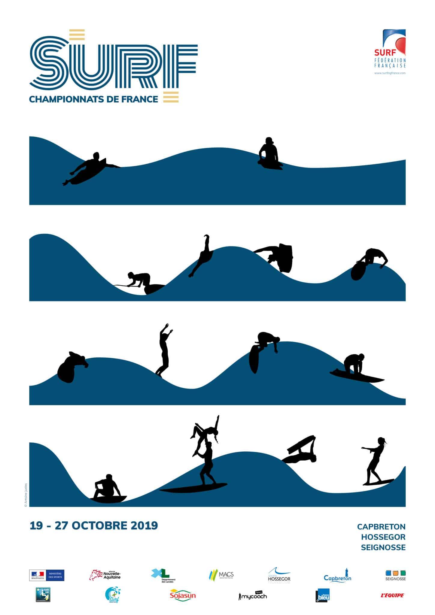 Affiche des Championnats de France de Surf 2019 réalisée pour la Fédération Française de Surf.