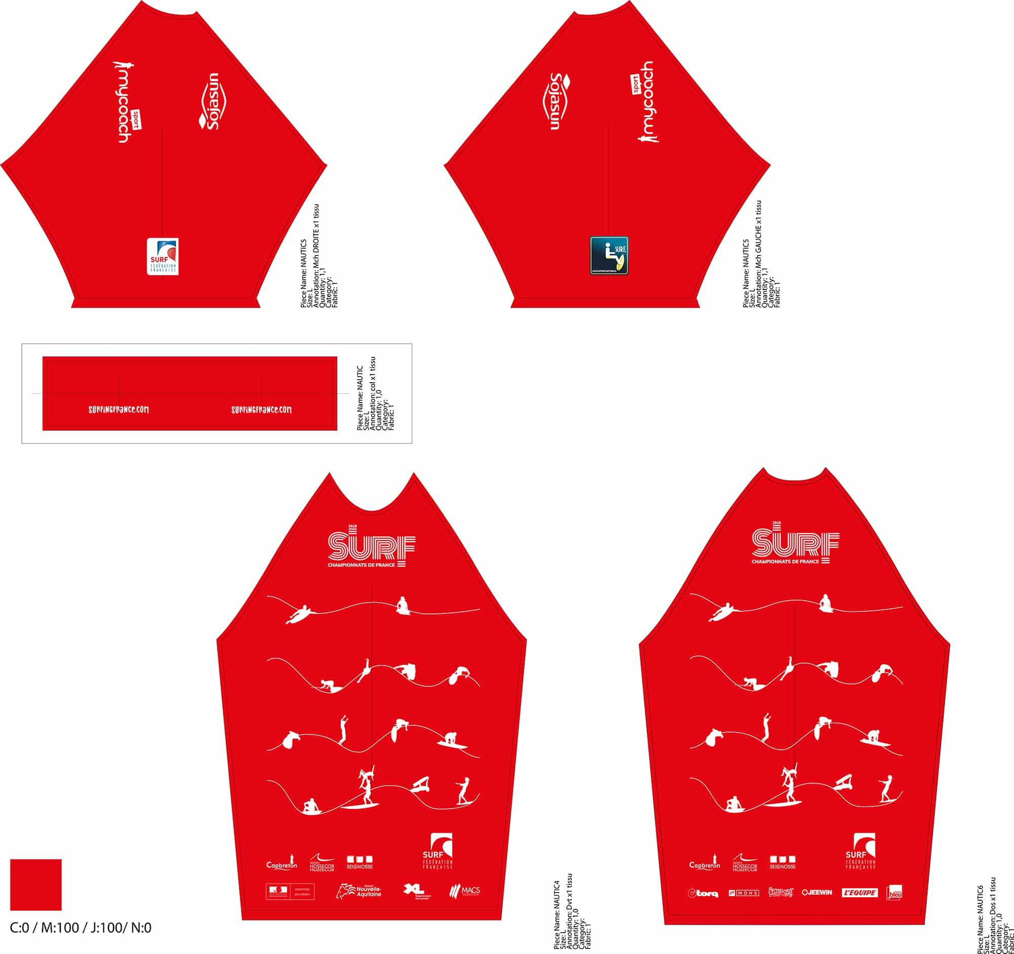Lycras réalisés pour les Championnats de France de Surf, reprenant les codes de l'événement.