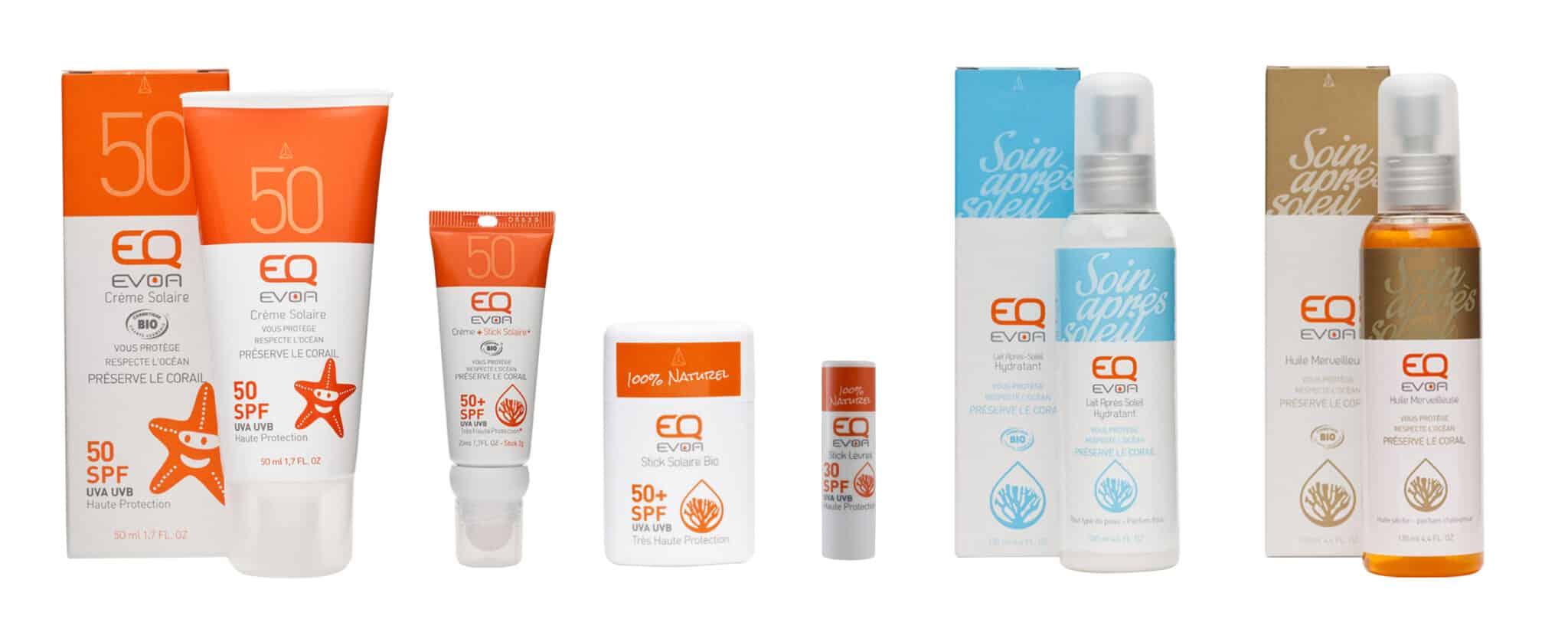 Ensemble des packaging de la gamme solaire créés pour EQ.