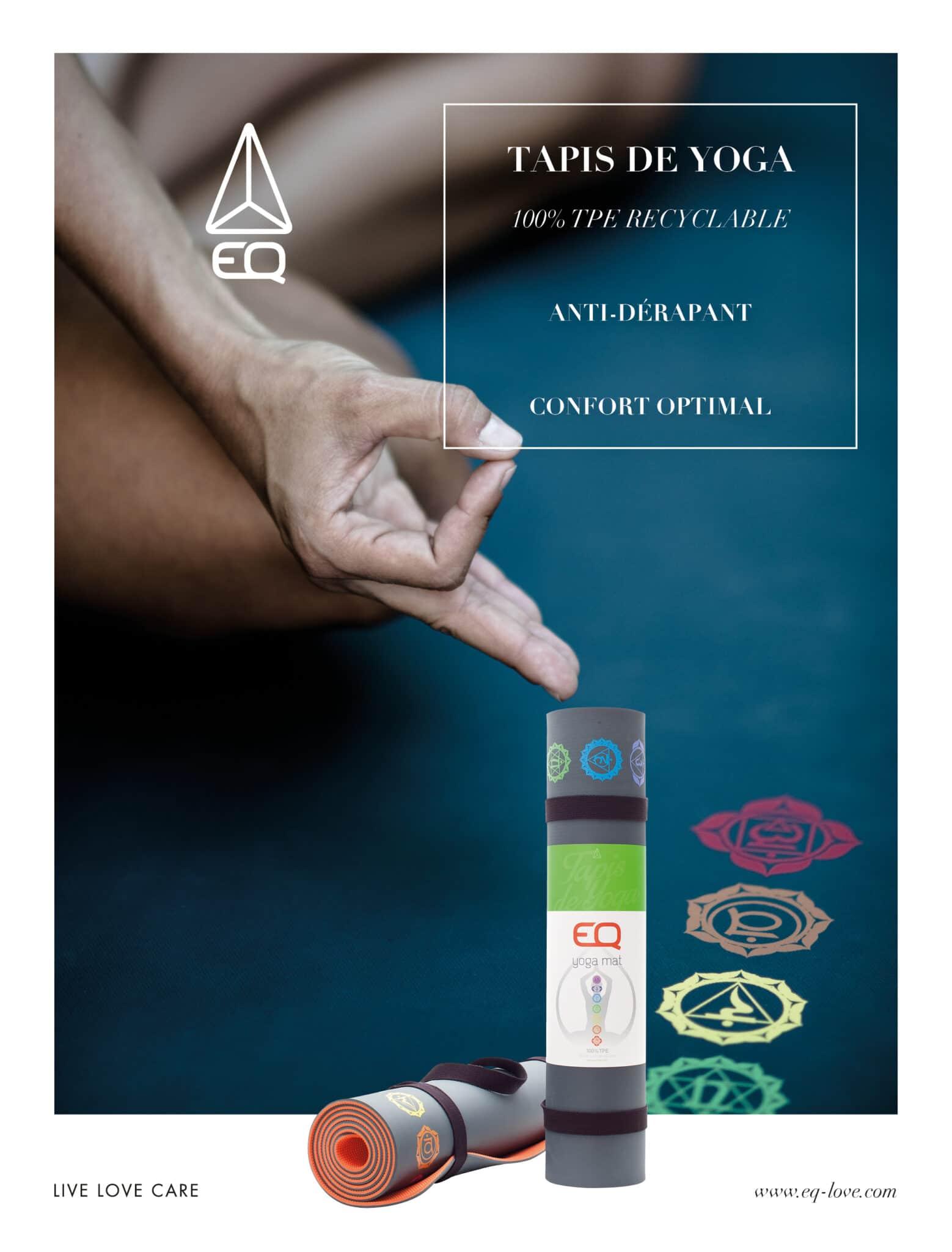 Page de publicité concernant les tapis de yoga EQ.