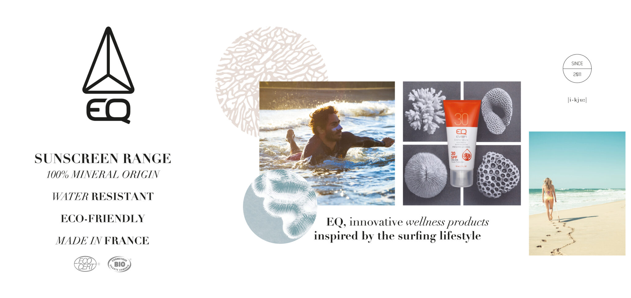 Mise en page d'un présentoirs servant à mettre en avant les valeurs de la marque EQ.