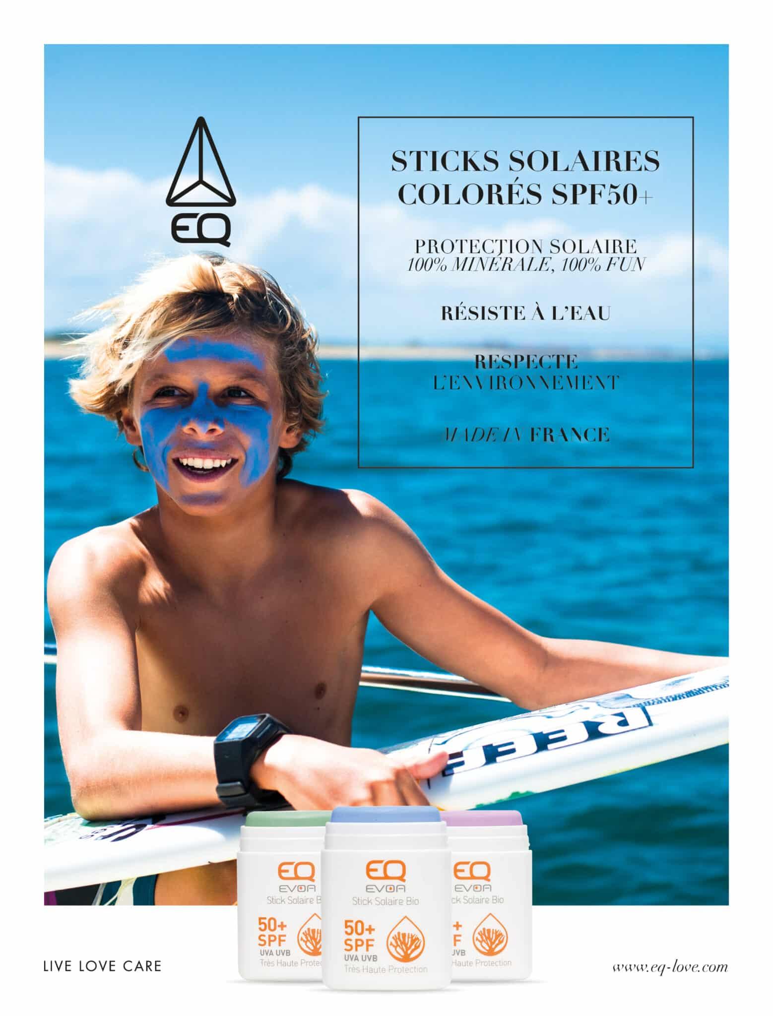 Page de publicité concernant les sticks colorés EQ.