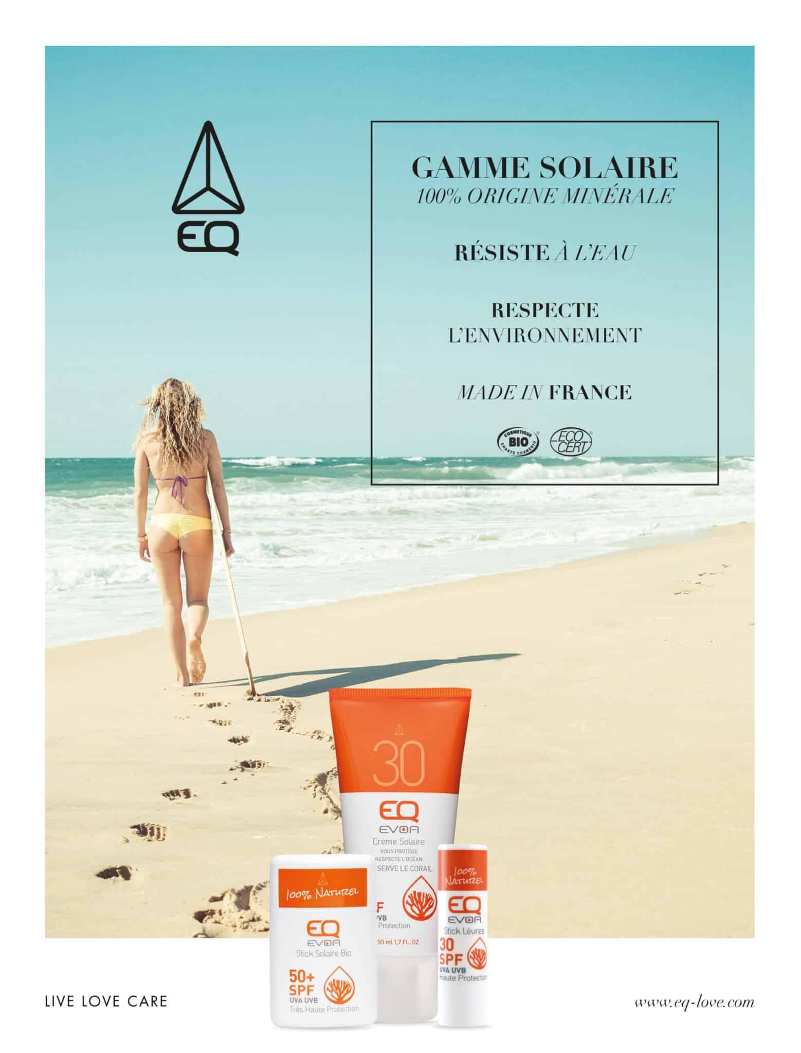 Page de publicité concernant la crème solaire EQ.